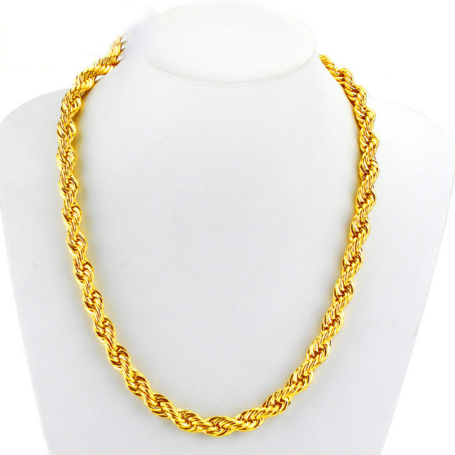 41c1de5da4a 6MM Thick Solid French Rope Chain Yellow Gold Filled Hip Hop Men's Twisted  Necklace 23.6