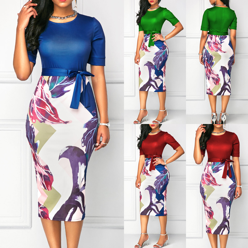 2018 New Women Bodycon Office Ladies Business Dress Short Sleeve Floral Party Cocktail Club Short Midi Dress office work dresses 2018