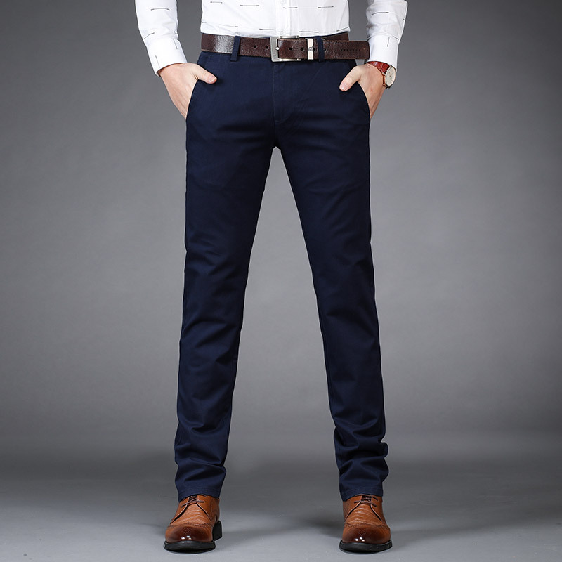 Mens Casual Business Dress Formal Pant Cotton Stretch Trousers Long Straight Male Black Blue Green Plus Big Size 40 in Casual Pants from Men 39 s Clothing