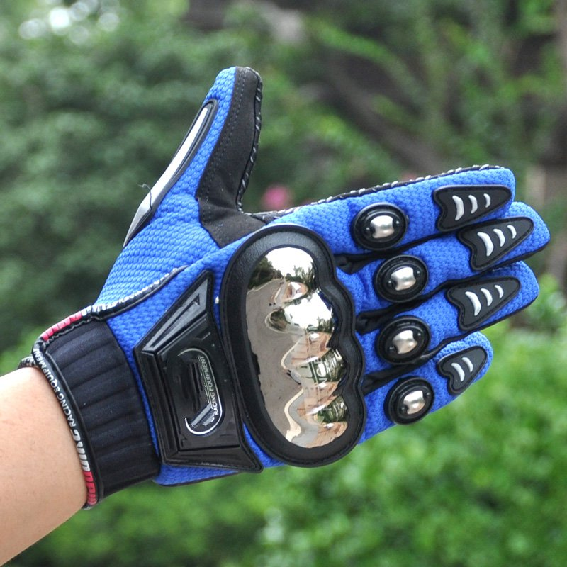Special riding Genuine motorcycle electric car racing men and women outdoor sports alloy steel full finger gloves pro biker mcs 01a motorcycle racing full finger protective gloves blue black size m pair