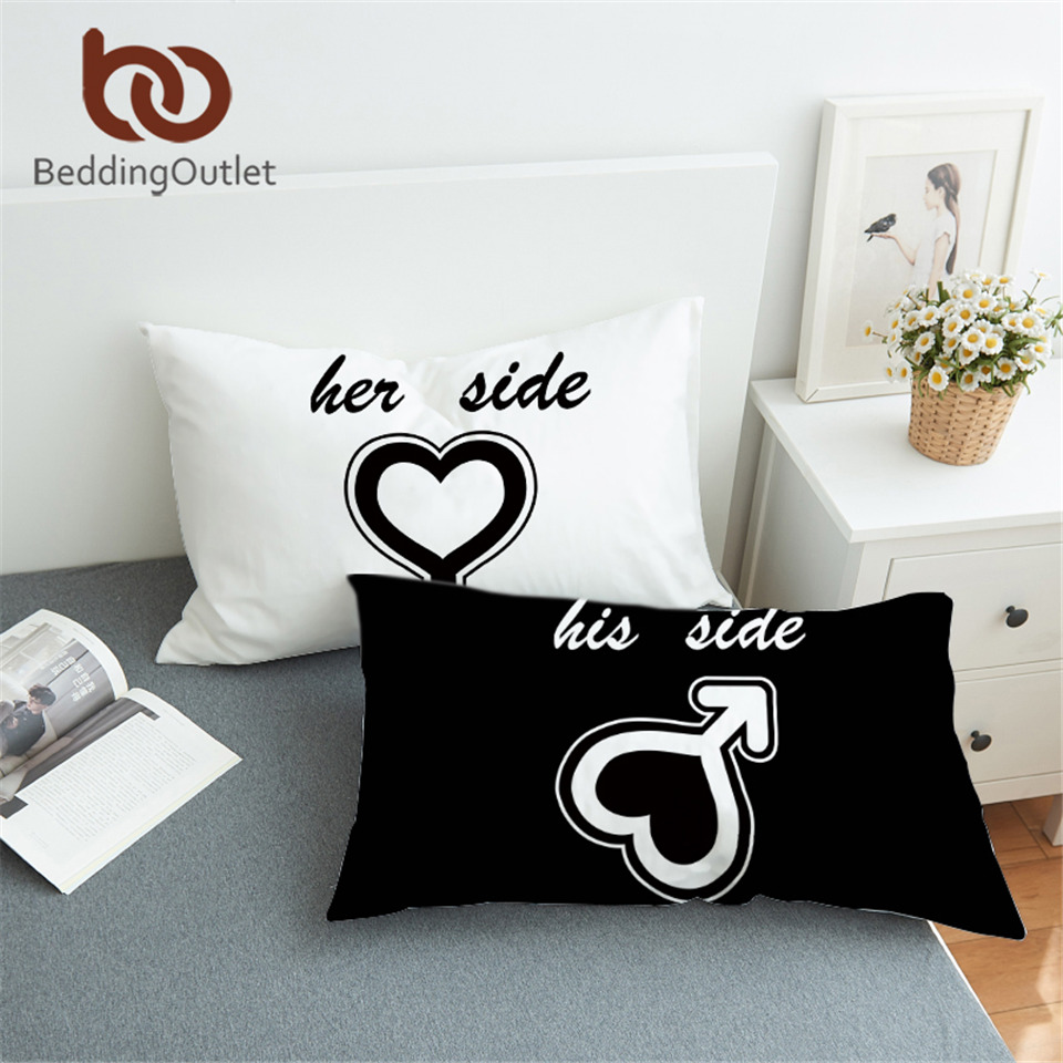 his of for couples her size decorative and pillows fun cute hers cases pillowcase large pillow pillowcases couple
