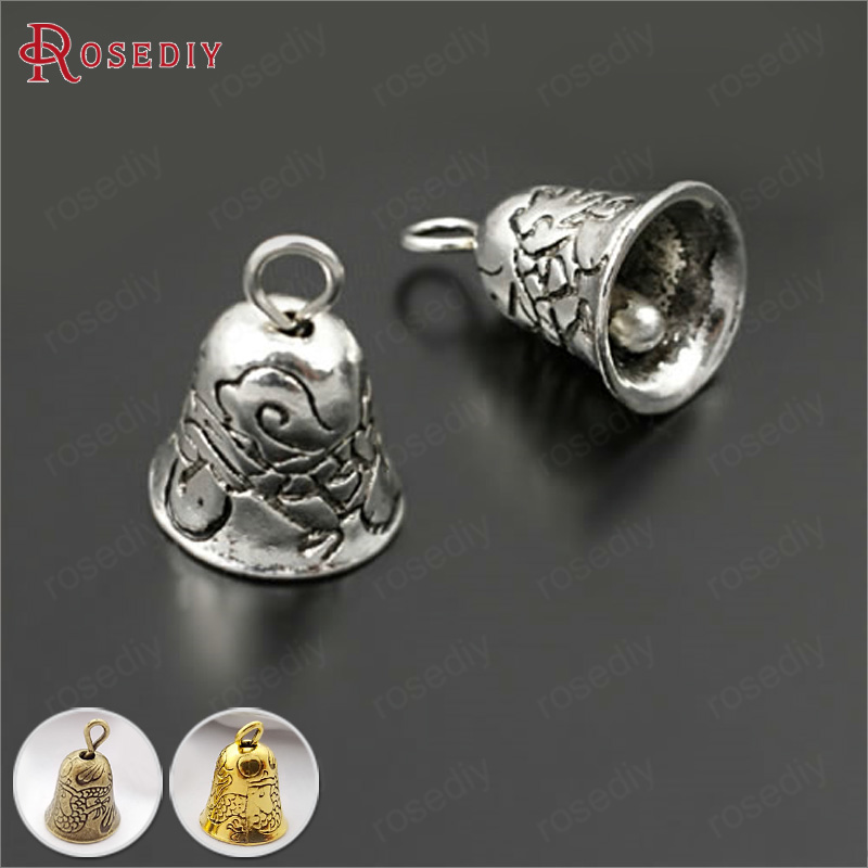 (27928)10PCS 9*9MM Zinc Alloy Antique Silver Real Bell Charms Pendants Diy Jewelry Findings Accessories Wholesale
