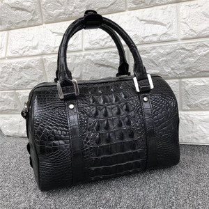 Image 3 - Fashion Lady Purse Genuine Crocodile Leather Womens Small Boston Bag Exotic Real Alligator Skin Zipper Closure Female Handbag