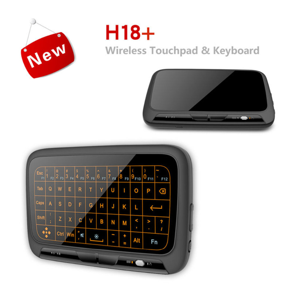 Mini H18 + Plus Wireless Keyboard 2.4G USB Portable Backlit Keyboard With Touchpad Mouse for Windows Android Smart TV Linux t2 2 4ghz ultra thin wireless mini keyboard with touchpad mouse colorful backlit