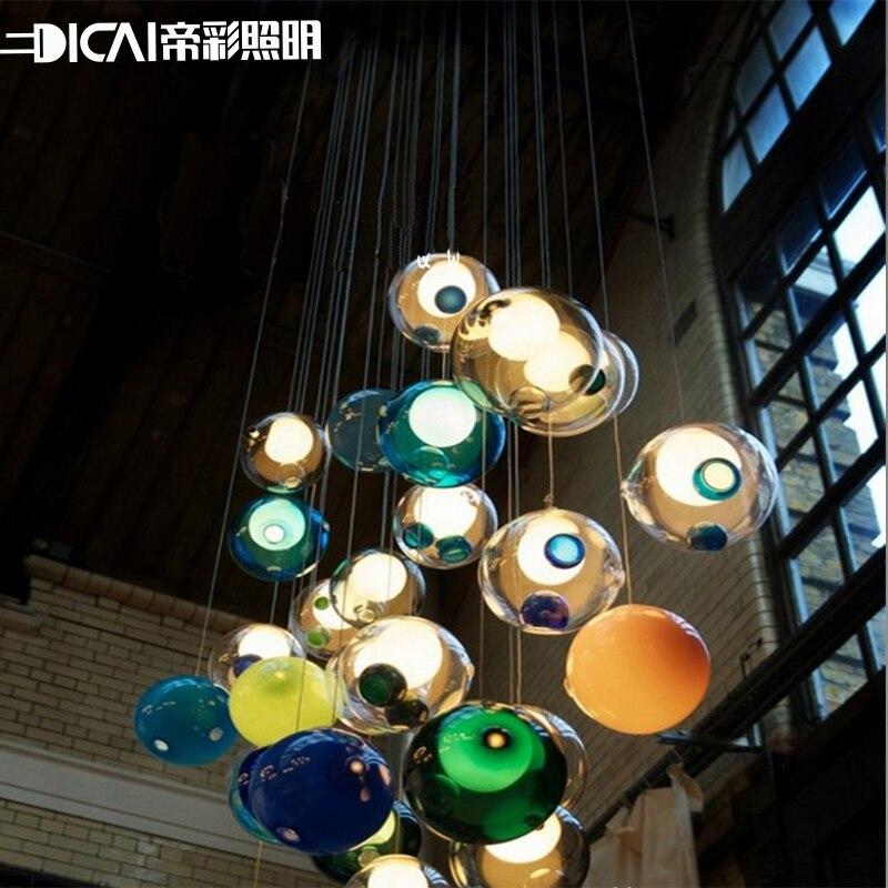 mini lustre creative lampe romantique couleur boule de verre bulle lumire dcoration moderne luminaire lustre clairage - Luminaire Boules Colores