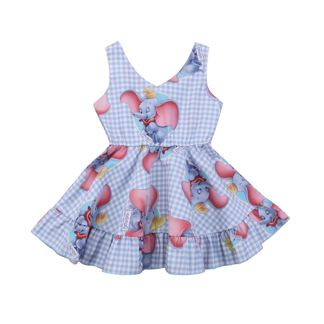 4c11c073c13ba Kids Baby Girls Princess Animal Plaid Sleeveless Dress Babies Girl  Elephants Printing Dresses Outfits Clothes Sundress Summer