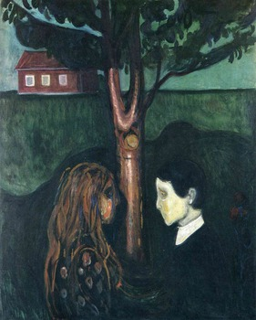 100% handmade Oil Painting Reproduction on Linen Canvas by professional artist,Cheap price,eye-in-eye-1894 By Edvard Munch,