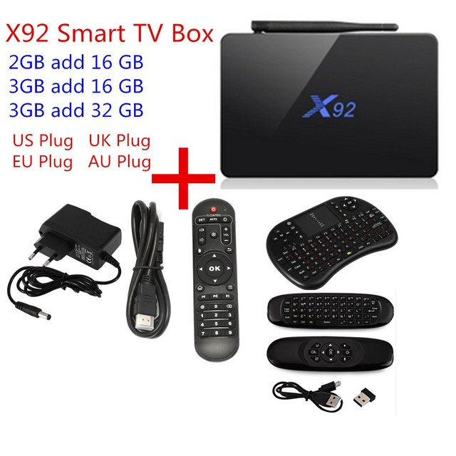 X92 TV Box Amlogic S912 Android 6.0 Octa-core 2.4GHz/5.8GHz WiFi HDMI 2.0a with USB 2.0 SD Card Slot Smart TV Box 2G 3G 16G 32GB