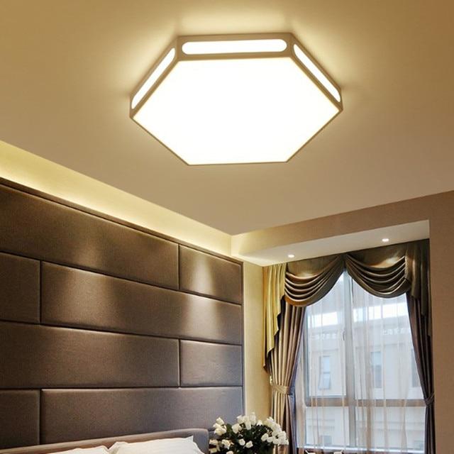 Modern white hexagon lamp led ceiling light fixture indoor lighting ...
