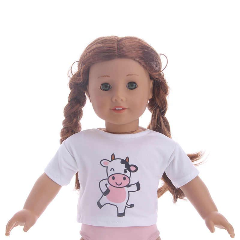 สีขาวสีเสื้อยืด Tops เสื้อผ้าตุ๊กตาสวมใส่ตุ๊กตาอเมริกัน 18 นิ้ว & 43 ซม. Born ตุ๊กตา Girl'Clothes เด็กที่ดีที่สุดวันเกิดของขวัญ