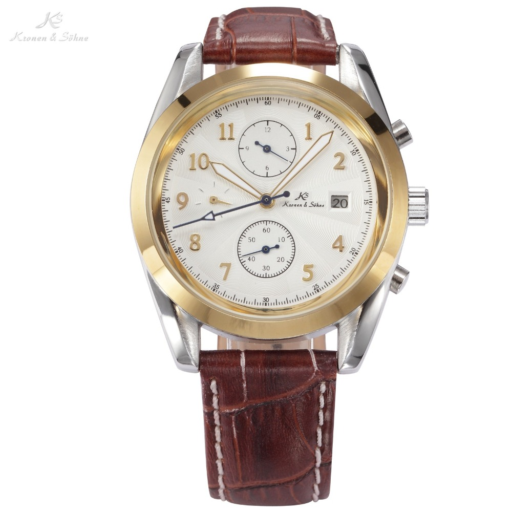 KS White Dial Gold Stainless Steel Case Automatic Mechanical Date Day Month Display Leather Strap Men Business Watch Gift /KS174 ks black dial rose gold stainless steel case date display automatic mechanical fluorescence hands leather strap men watch ks234