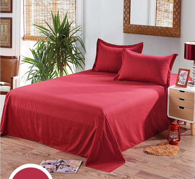 Wine Red, Green, Twin Full Queen Size Flat Sheet Bed Sheet, Single,