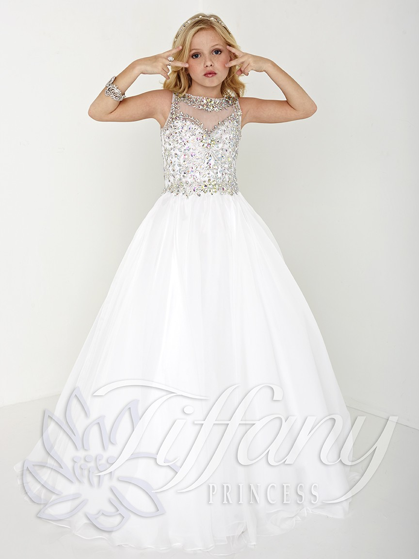 2017 White Princess Children Pageant Dresses Jewel Neck Glitz Crystal Rhinestone Ball Gown Prom Dress For Girls Kids Party In Flower Girl From