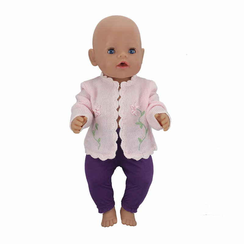 Pink Sweater Doll Clothes Wear fit 43cm Baby Born zapf, Children best Birthday Gift(only sell clothes) pink hat coat leggings doll clothes wear fit 43cm baby born zapf 18 american girl doll clothes children best birthday gift