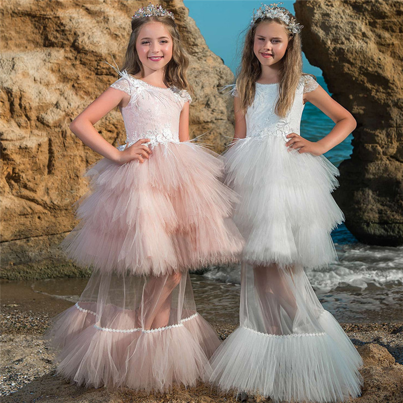 New Pink 2 piece set   Flower     Girls     Dress   Kids Pageant Party Ball Gown Prom Princess Bridal Lace Formal Occassion Long   Dress   4-14Y