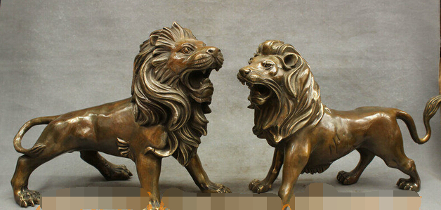 bi002845 15 FengShui Chinese Bronze Copper Talisman Roar Ferocity Lion Guard Statue Pairbi002845 15 FengShui Chinese Bronze Copper Talisman Roar Ferocity Lion Guard Statue Pair