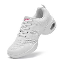 Ladies Sports Shoes White Dance Sneakers Womens with Platform Woman Practice Shoe Modern Lightweight Dancing Zapatos 7.5