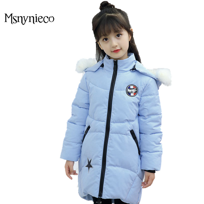 Girls Winter Coat 2017 Fashion Children Winter Jacket  Kids Warm Thick Hooded Long Outerwear Coats For Teenage 4 6 8 10 Years winter russia girls cotton coats baby jacket thick warm kids outerwear parkas children clothing for 4 6 8 10 12 years