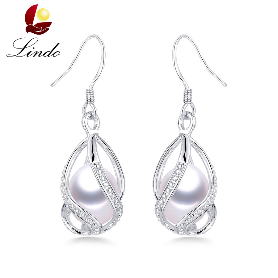 Natural Freshwater Pearl Drop Earrings For Women Elegant 925 Sterling Silver Anti allergy Earrings DIY Cage Jewelry 2019 Lindo(China)