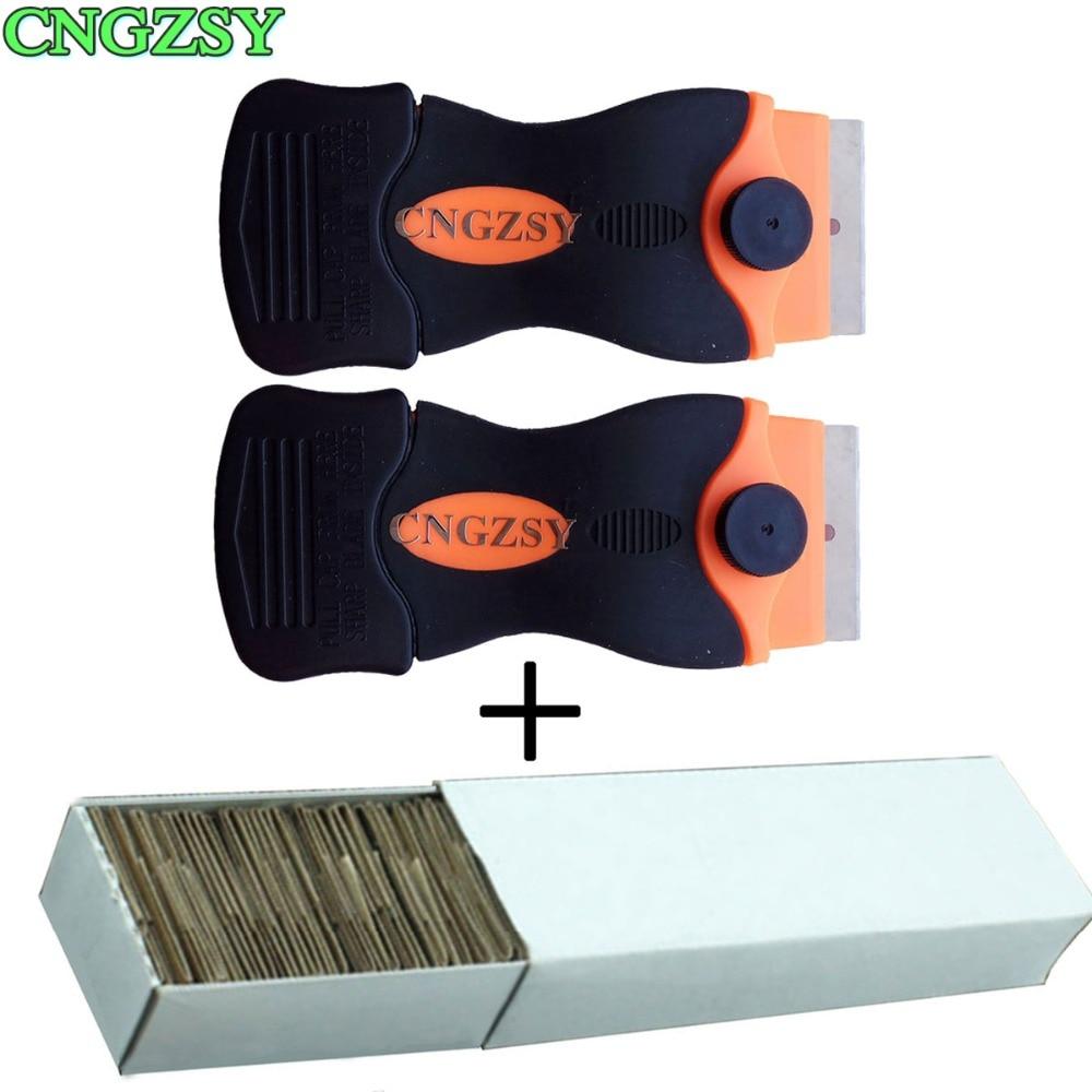 CNGZSY Razor Scraper Replacement Blades Ceramic Oven Glue Sticker Remover Car Wrap Glass Cleaner Window Tinting Tools 2E12+E13