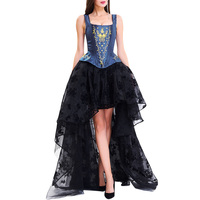 LANGSTAR 2017 New Fashion Autumn Embroideried High Low Two Piece Prom Corset Dress Women Vintage Robe Female Sexy Lace Dress
