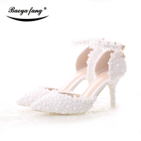 New Arrival Summer Women Sandals Fashion Bride Wedding shoes ankle Strap pointed toe Party dress shoes small flower white lace