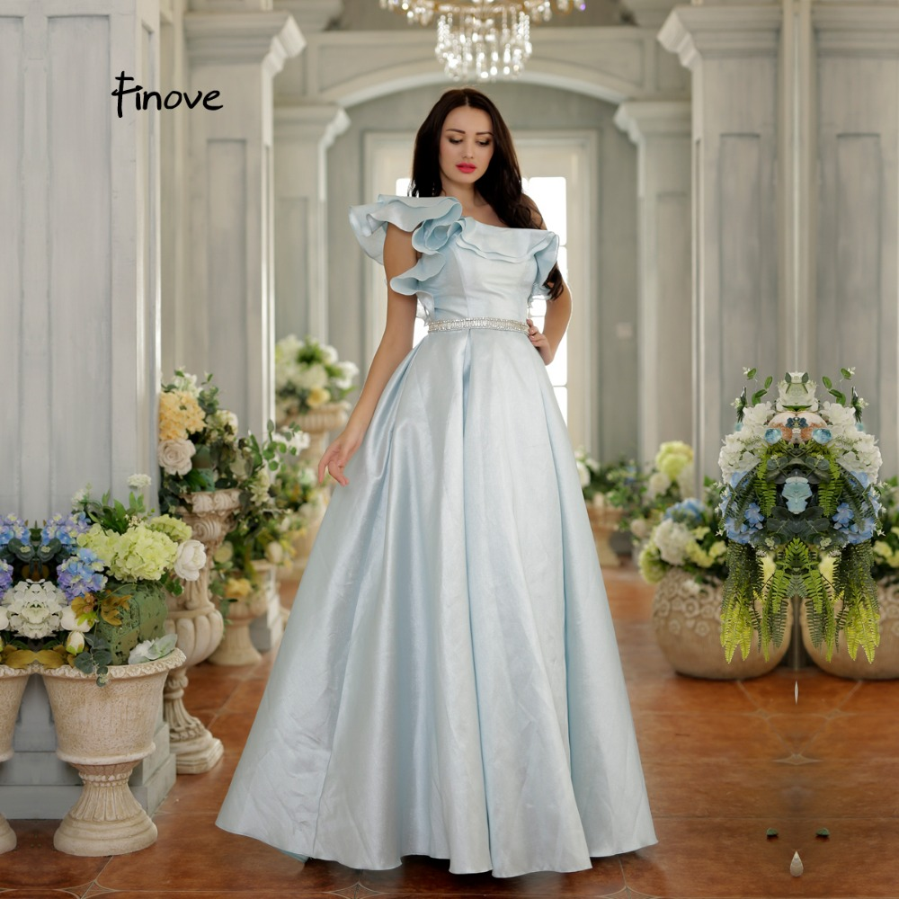 40e465d44c Finove Ball Gown Evening Dress 2018 New Arrivals Fashionable One-Shoulder  Ruffles Design Crystals Beading Floor-Length For Woman