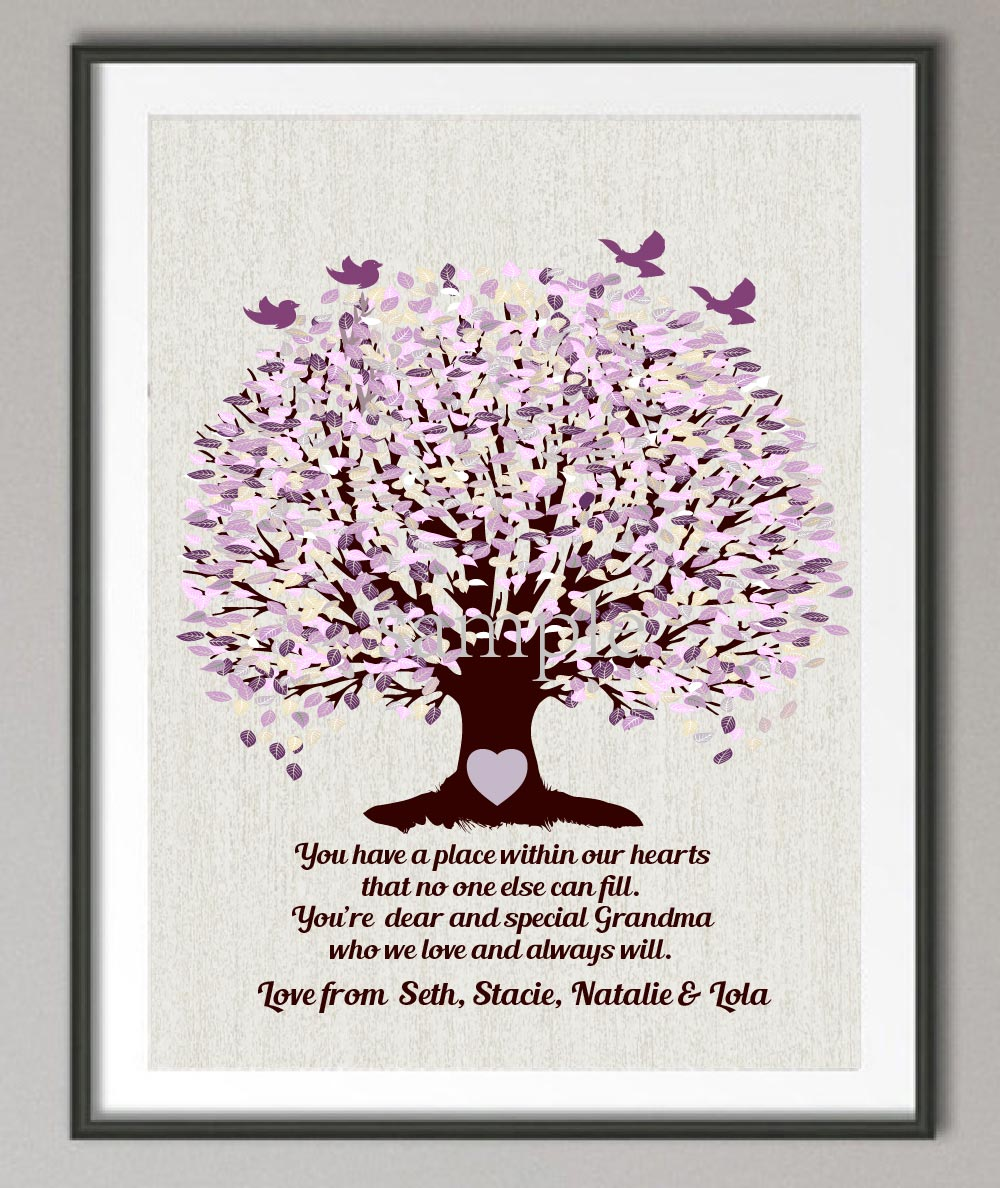 Family Tree Wall Decor Images : Grandma gift family tree wall art poster print pictures