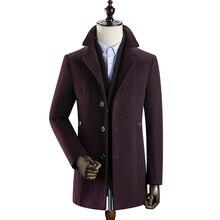 2019 Winter Men'S Woolen Coat Men'S Detachable Liner Large Lapel Woolen Coat Quality Thickening Liner Men'S Woolen notch lapel patch pocket back vent woolen coat