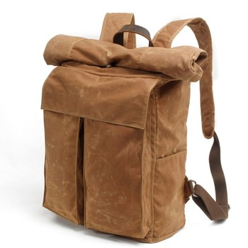Street Men Bags Vintage Waterproof Waxed Canvas Travel Man Backpack Large Capacity Basic Roll Top Military Bag Male Outside