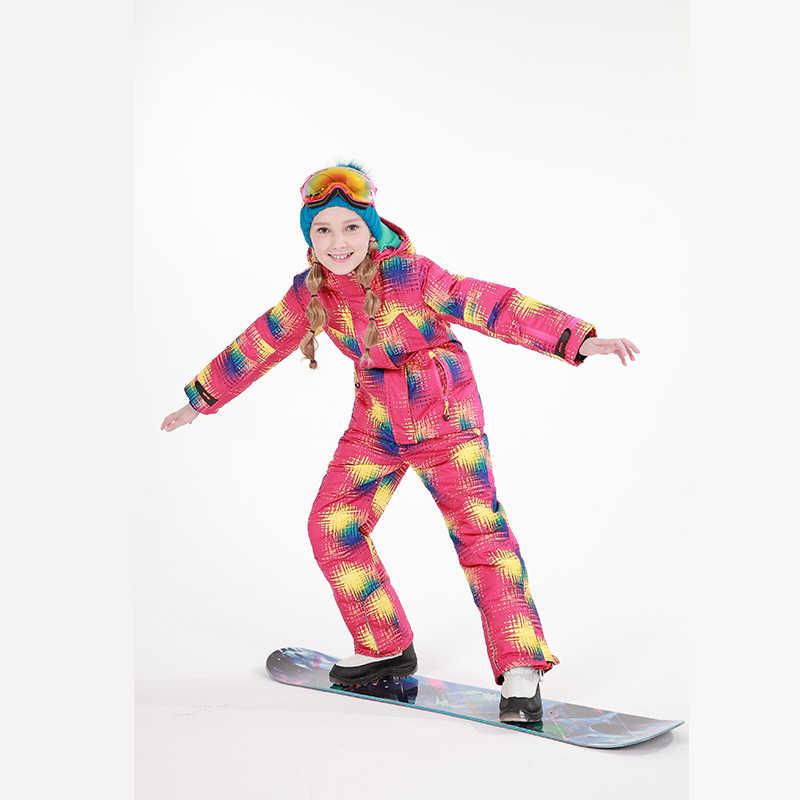 Бесплатная доставка, зимний комплект одежды для детей, ветрозащитные лыжные куртки + штаны, детские зимние комплекты, теплый лыжный костюм для мальчиков и девочек