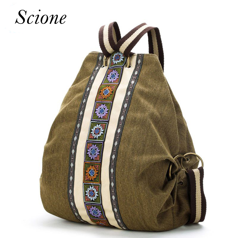 Canvas National Tribal Ethnic Embroidered Floral Backpacks Women's Travel Rucksack Mochila School Shoulder bag Sac a Femme Li243 2016 tribal ethnic embroidered floral canvas backpack women travel rucksack school bag for teenagers femme aztec backpack li82