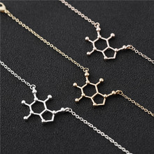 hollow geometric Caffeine Molecule Necklace polygon Chemical Molecules Science Structure Chemistry Necklaces Jewelry
