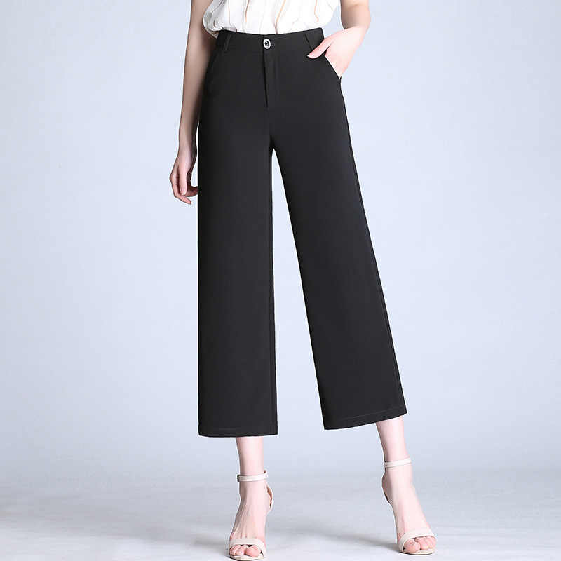 2019 новые женские укороченные брюки с высокой талией, широкие брюки, черные армейские зеленые бежевые прямые повседневные летние брюки, большие размеры S до 6XL