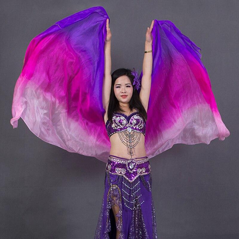 100% Silk Performance Belly Dance Accessories Contrast Colors Light Texture Rectangular Scarf 2.4 Meters Women Silk Veil Dance