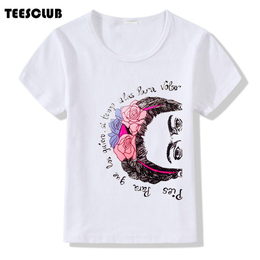 Frida Kahlo T shirt Kids 2018 Children Summer Tops Harajuku FRIDA KAHLO Printed Girl Tshirt Clothes White Tee Shirts