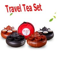 6 Pcs Set Travel Chinese Porcelain Sets Yixing Purple Clay Tea Cup Service Portable Kung Fu Tea Set Ceramic Gongfu Solid Gaiwan