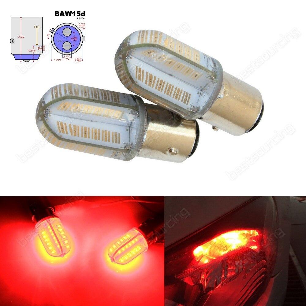 2x 567 780 PR21/5W BAW15d 380R COB LED Bulbs Rear Tail Brake Stop Light Lamp Red(CA320) 2x baw15d 567 pr21 5w bulbs samsung 15w led tail stop brake rear fog light red ca317