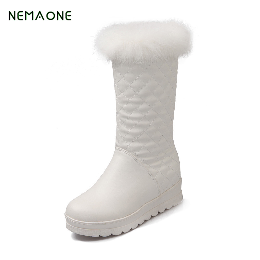 NEMAONE NEW 2017 fashion waterproof snow boots women's knee high boots flat winter boots platform fur shoes women size 34-43 enmayer hot new fashion round toe lace up flat ankle snow boots for women winter boots shoes large size 34 43 platform shoes