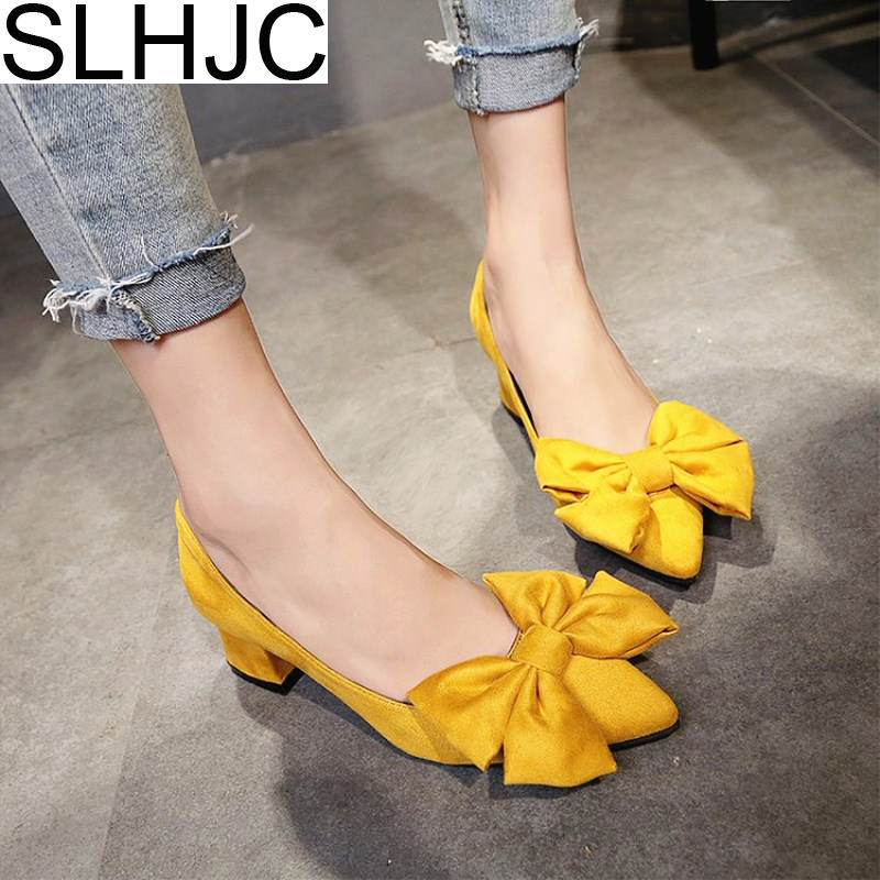 SLHJC 2018 Spring Autumn Pumps Shoes Med High Heel Pointed Toe Chunky Square Heel Slip On Pumps With Big Bow Sweet Women Shoes 2016 new women shoes summer sweet style leatherette pointed toe bowknot beading chunky kitten heel big size weeding pumps 0216