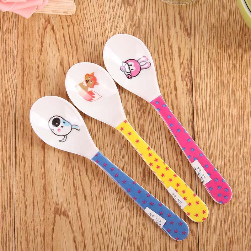 2Pcs Kawaii Melamine Cartoon Baby Feeding Spoon Children's Spoon Soup Coffee Spoon Dinnerware