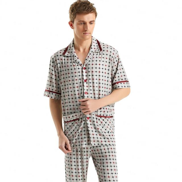 De descuento! de Manga corta de Los Hombres ropa de Dormir ClassicStriped Pijama Más Tamaño Algodón Pijamas ropa de Dormir y Descansar de Los Hombres Atractivos de Los Hombres Homewear