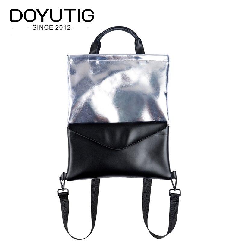 DOYUTIG nouveauté jeune fille PU sac à dos en cuir avec motif blanc et noir mode Pu école sac à dos Double sacs à bandoulière E159