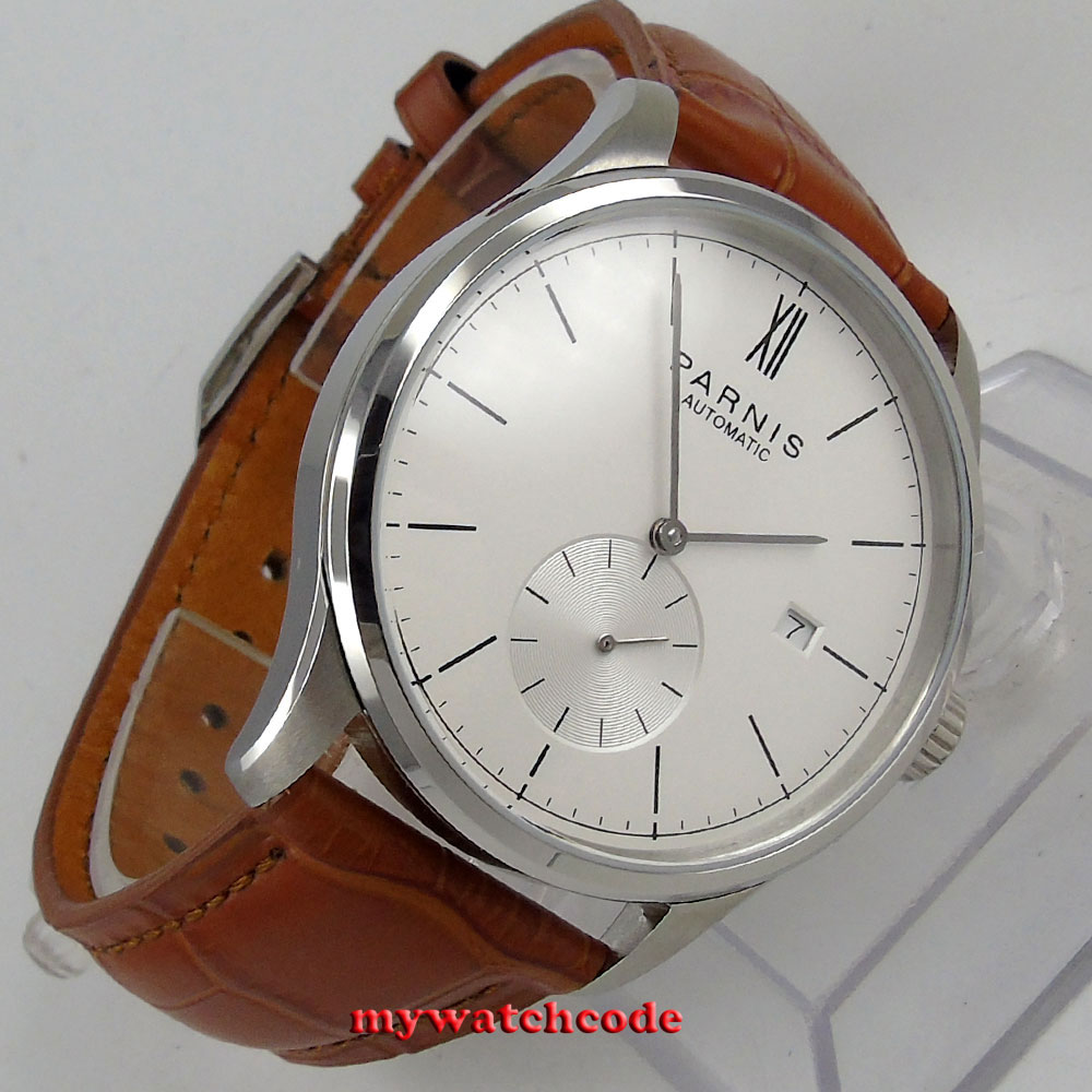 famous brand 42mm parnis white dial date window ST1731 automatic mens watch P955 цена и фото