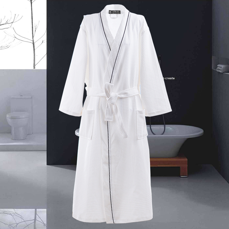 Waffle 100% Cotton Bathrobe Men Long-sleeve Mens Robe Sweat Evaporate Couples Kimono Bath Robes Hotel SPA Robes Dressing Gown