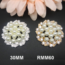 Metal rhinestone pearl buttons in silver and gold wedding invitation card embellishment 30MM 50pcs RMM60