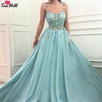 TaoHill Bridal Guest Dresses 2019 A line Spaghetti Straps Light Blue dress Colorful Handmad Flowers Evening Party Dress