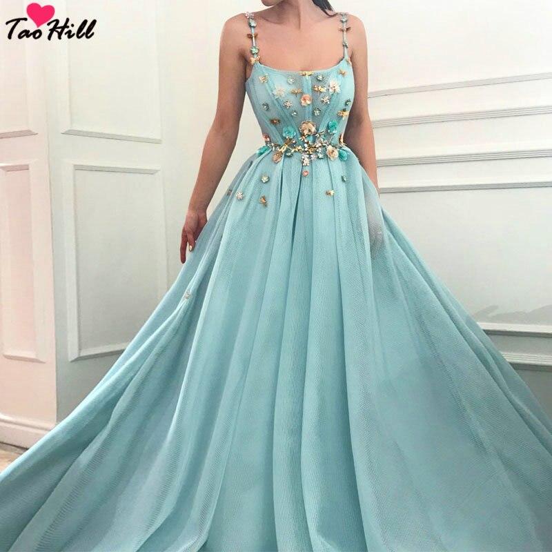 TaoHill De Mariée D'hôtes Robes 2019 A-ligne Bretelles Spaghetti Bleu Clair robe Coloré Handmad Fleurs Soirée Partie Robe