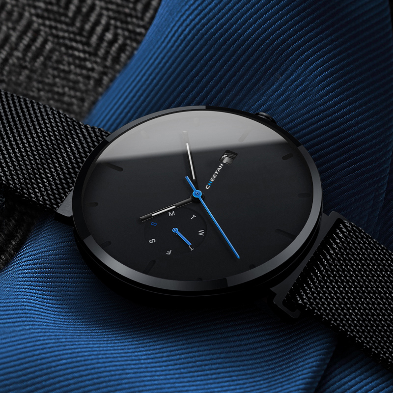 New Watch Men Fashion Casual Quartz Watches Waterproof Blue Point Simple Men Wristwatch Male Date Week Clock Relogio Masculino