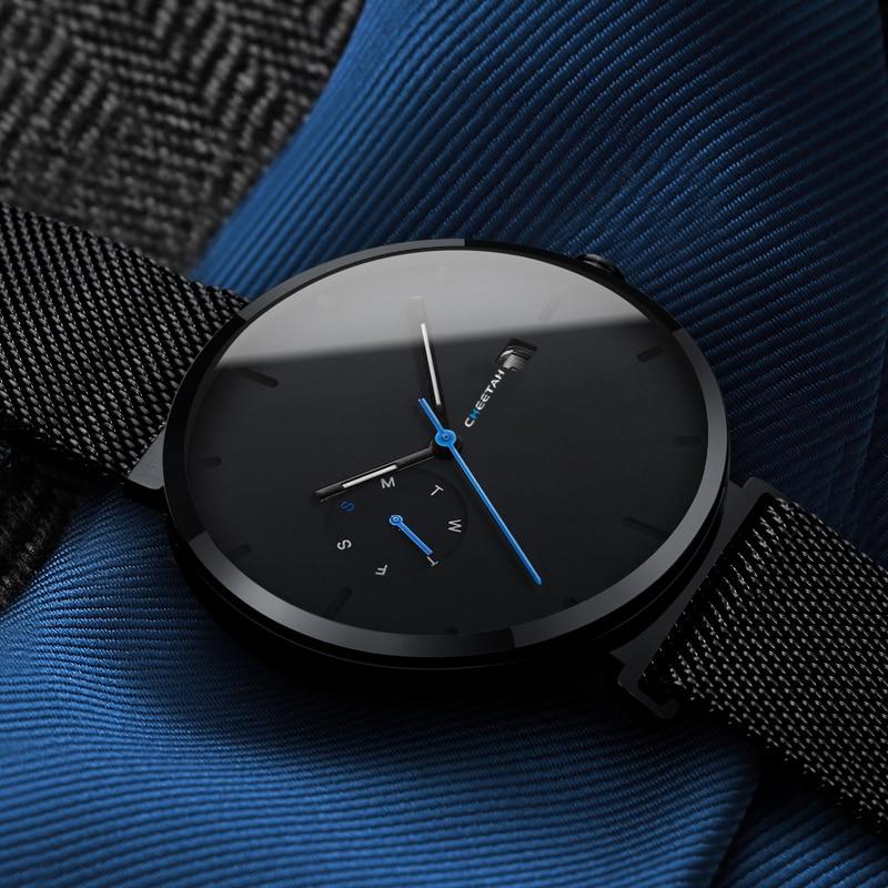 Nouvelle Montre Hommes Mode Casual Montres À Quartz Étanche Bleu Point Simple Hommes Montre-Bracelet Mâle Date Semaine Horloge Relogio Masculino